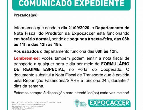 HORÁRIO DE FUNCIONAMENTO DO DEPARTAMENTO DE NOTA FISCAL DO PRODUTOR DA EXPOCACCER