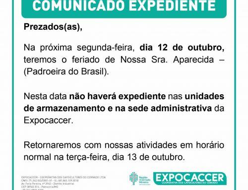 HORÁRIO DE EXPEDIENTE DA EXPOCACCER NO FERIADO DO DIA 12/10/2020 – NOSSA SENHORA APARECIDA– (PADROEIRA DO BRASIL)