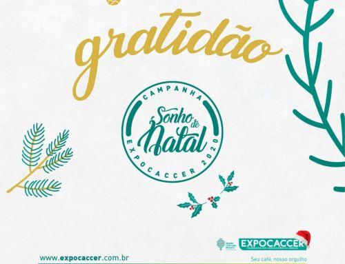 CAMPANHA SONHO DE NATAL EXPOCACCER 2020 ARRECADA MAIS DE 2 TONELADAS DE ALIMENTOS
