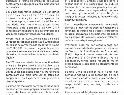 CARTA DE BOAS-VINDAS À SAFRA 2021 – EXPOCACCER